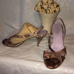Coach peep toe heels snakeskin size 7
